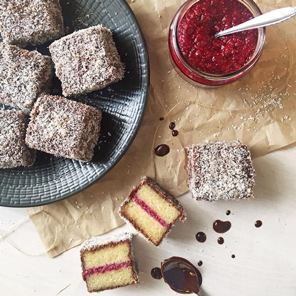 Wholefood Gluten Free Lamingtons with Raspberry Jam