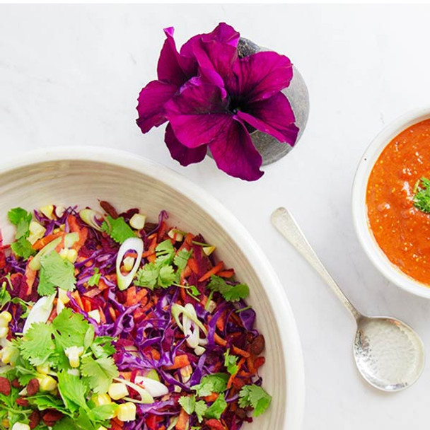 Raw Rainbow Salad & Goji Dressing