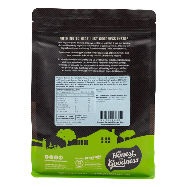 Organic Sprouted Brown Rice Protein Powder 750g