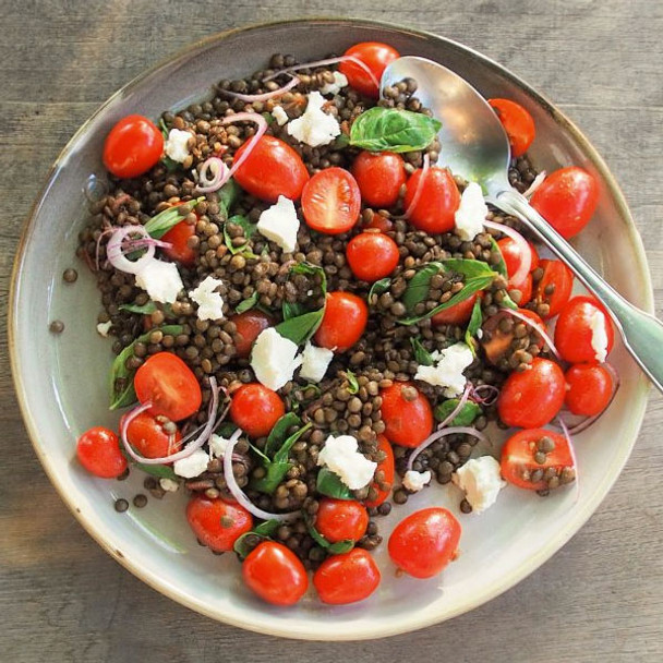 French Green Lentils with Tomatoes, Goats Cheese & Basil