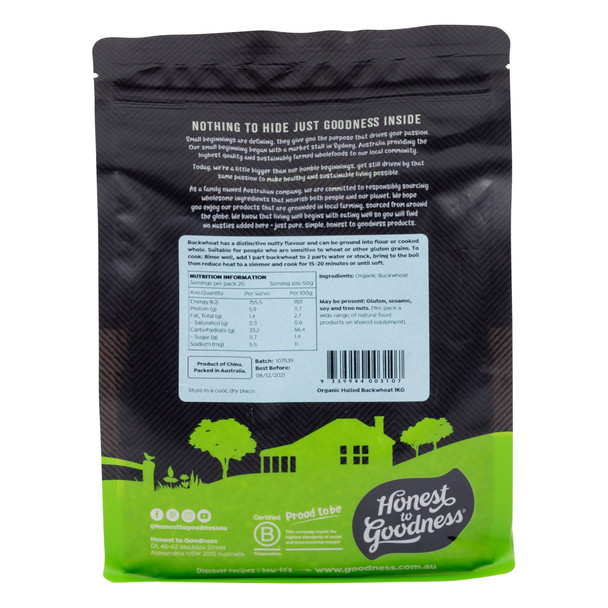 Organic Hulled Buckwheat 1KG