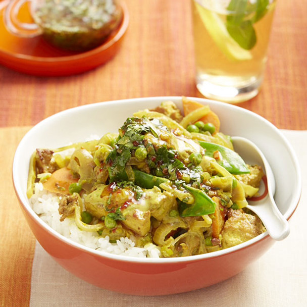 Thai-style Yellow Curry with Coriander Dressing