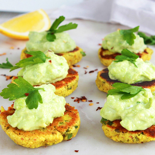 Mini Savoury Turmeric Pancakes with Avocado Cream