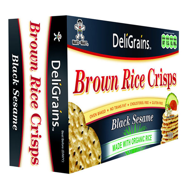 DeliGrains Organic Brown Rice Crisps Black Sesame 100g