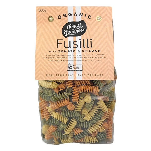 Honest to Goodness Organic Fusilli Pasta with Tomato and Spinach