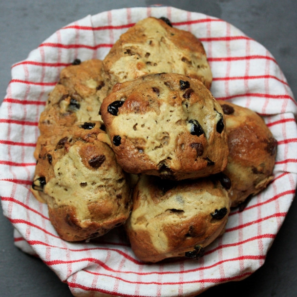 Vegan Chocolate & Cherry Hot Cross Buns