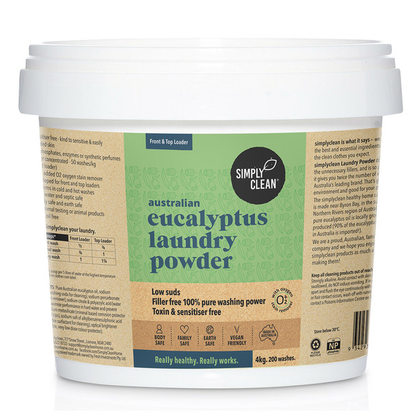 Aust Eucalyptus Laundry Powder with Oxygen Stain Remover 4KG