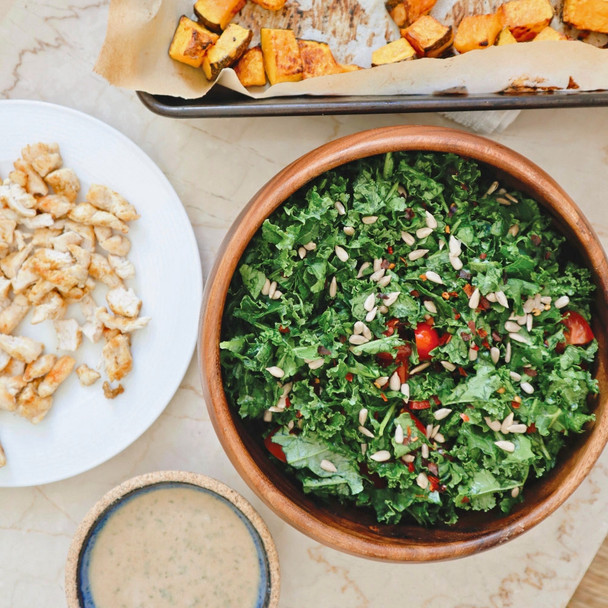 Roast Pumpkin & Kale Salad with Lemon and Tahini Dressing