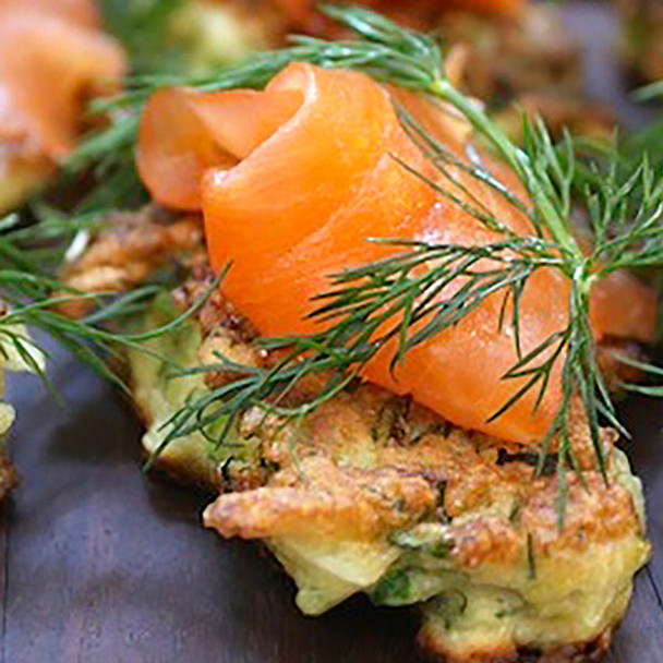 Smoked Trout Fritters with Lemon & Dill
