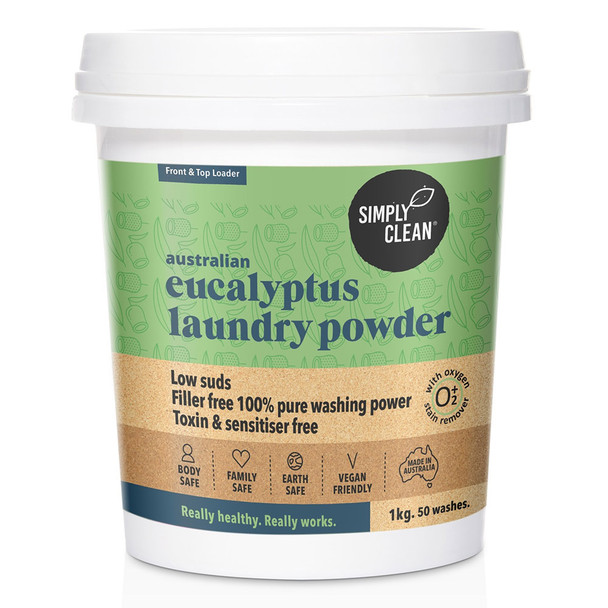 Aust Eucalyptus Laundry Powder with Oxygen Stain Remover 1KG