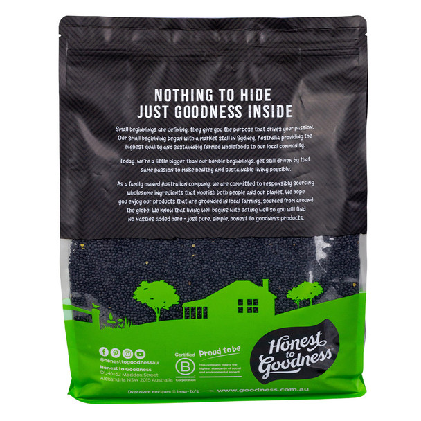 Organic Black Beluga Lentils 5KG