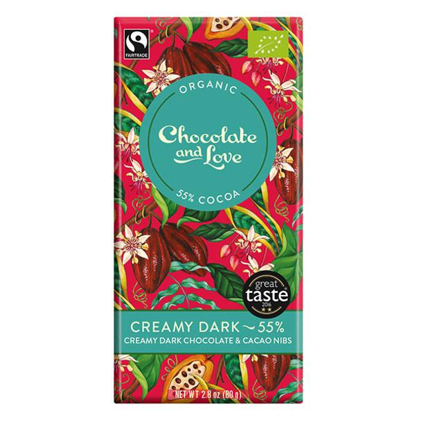 Chocolate and Love Fairtrade Organic Creamy Dark 55% Dark Chocolate 80g