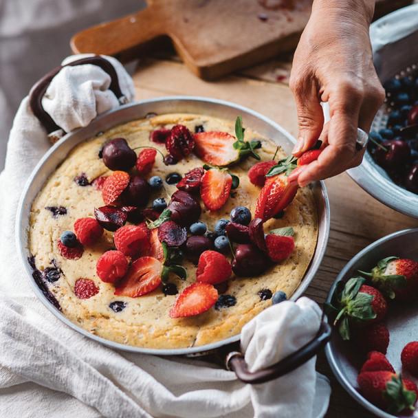 Giant Coconut Pancake with Berries and Cherries Jody Vassallo