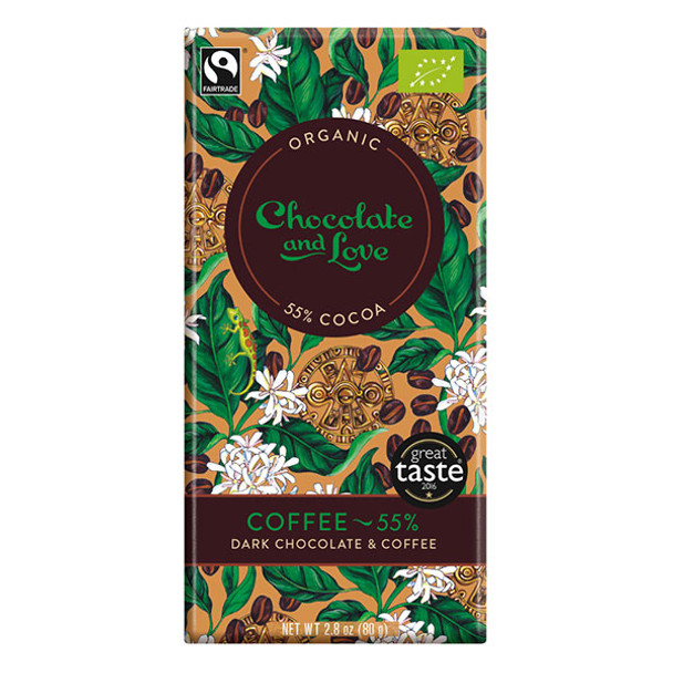 Chocolate and Love Fairtrade Organic Coffee 55% Dark Chocolate 80g