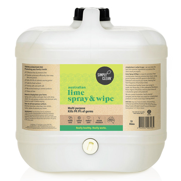 Simplyclean Australian Lime Spray & Wipe 15L Bulk