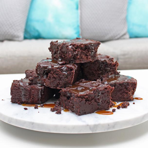 Vegan Dark Chocolate & Salted Caramel Brownies