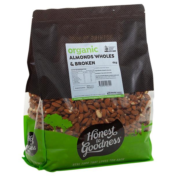 Organic Almonds Wholes & Brokens 4KG