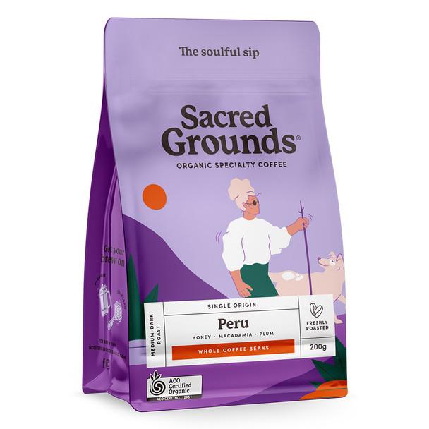 Sacred Grounds Organic Single Origin Peru Coffee Beans 200g
