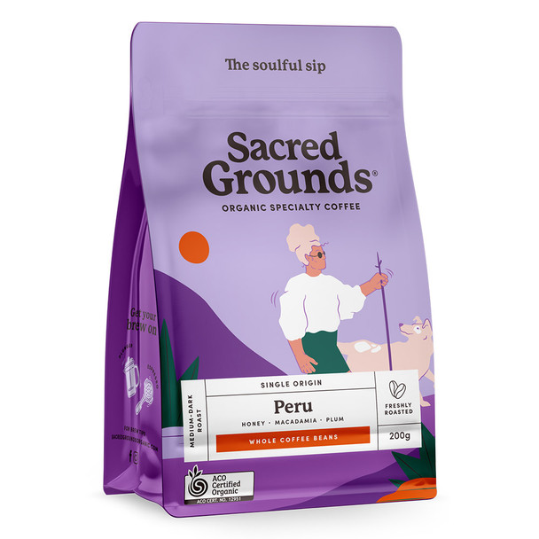 Sacred Grounds Organic Single Origin Peru Coffee Beans 200g