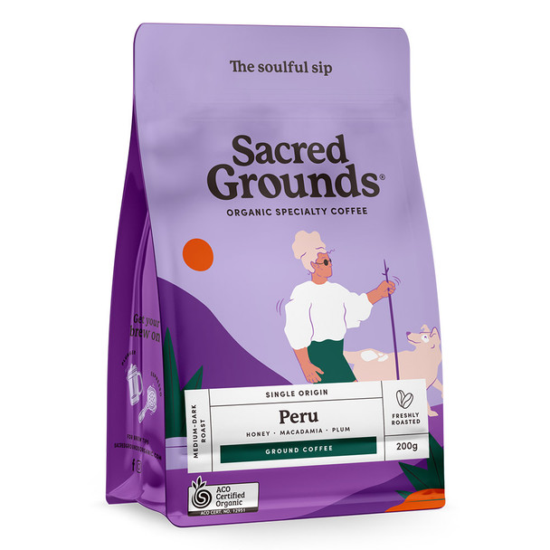 Sacred Grounds Organic Single Origin Peru Ground Coffee 200g