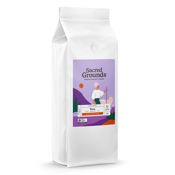 Sacred Grounds Organic Single Origin Peru Coffee Beans 1KG