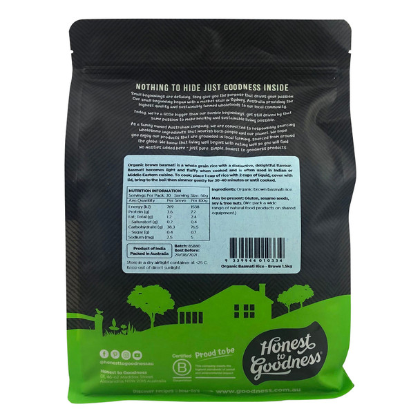 Organic Brown Basmati Rice 1.5KG