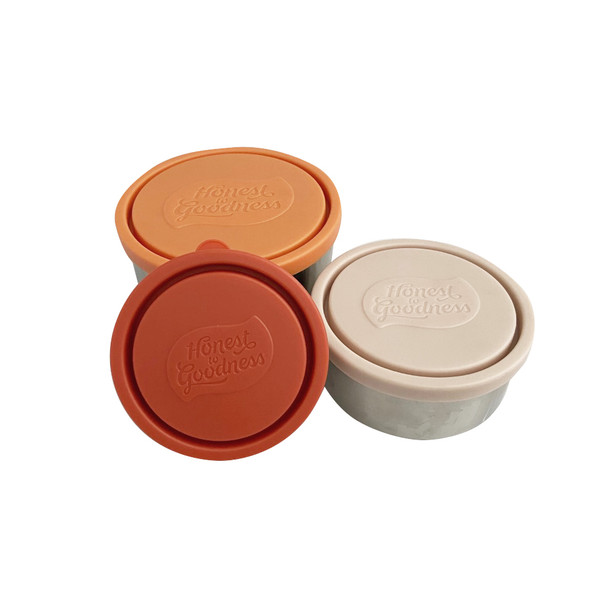 Set of 3 Round Nesting Stainless Steel Food Containers - Tricolour