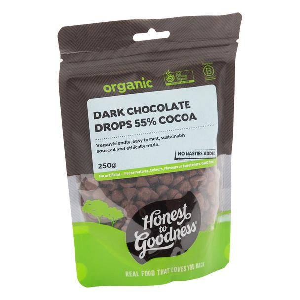 Organic Dark Chocolate Drops 55% Cocoa 250g