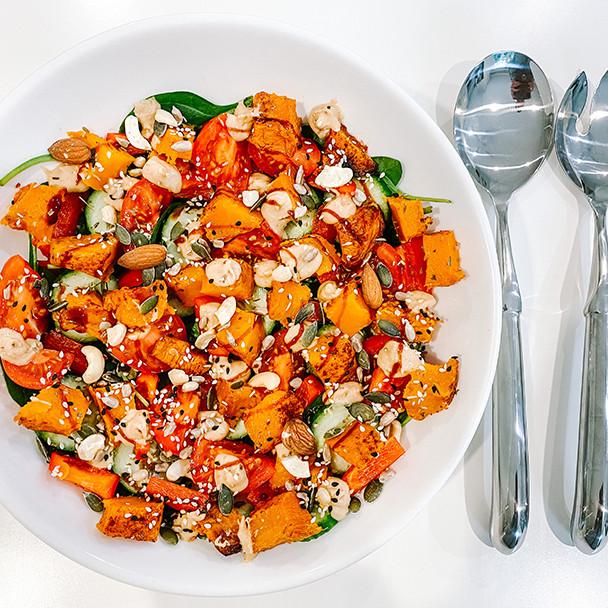 Roast Pumpkin and Baby Spinach Vegan Superfood Salad