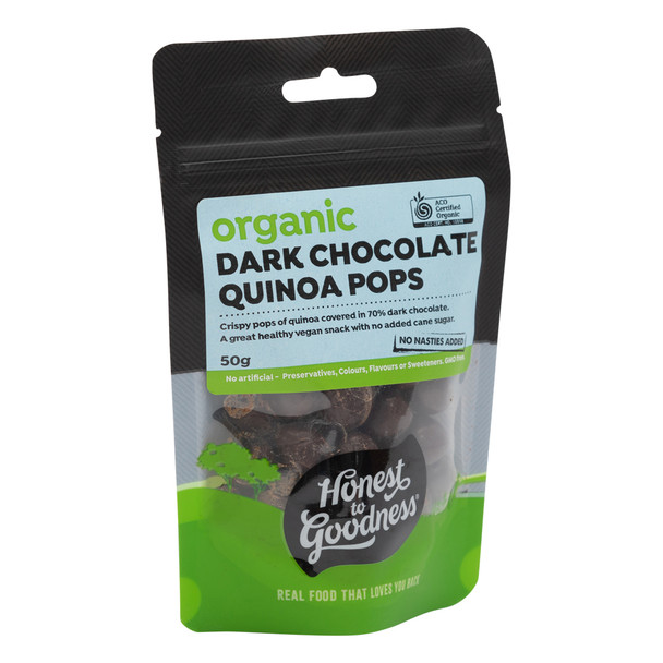Organic Dark Chocolate Quinoa Pops 50g