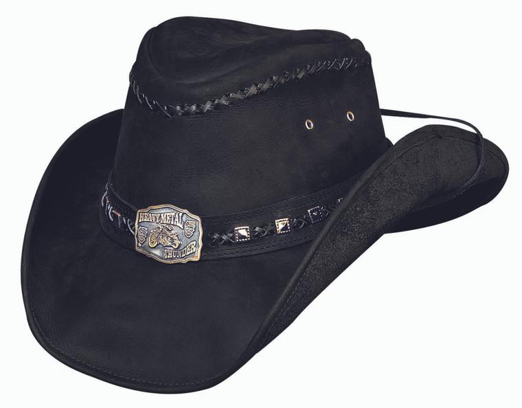 THUNDER STRUCK Black Leather Western Cowboy Heavy Metal Hat by Bullhide MonteCarlo Hats