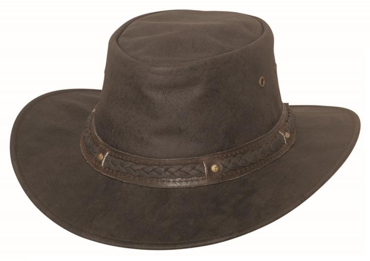 HOBART Dark Brown CRUSHABLE Leather Western Cowboy Rock n Roll Hat by Bullhide MonteCarlo Hats