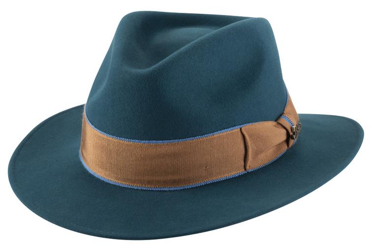 FURORE Turquoise Vari Felt Fedora Dress Hat Brittoli Capello by Bullhide MonteCarlo Hats