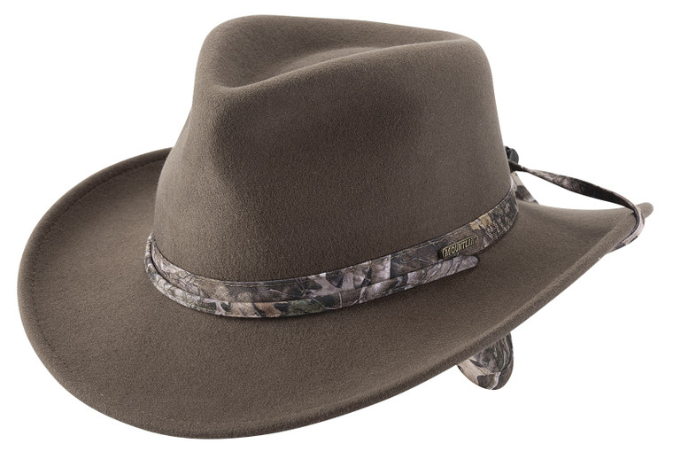 WYOMING Olive CRUSHABLE Wool Camo OUTBACK Western Cowboy Hat Mountland by Bullhide MonteCarlo Hats (EAR FLAPS)