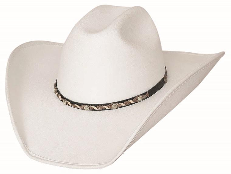 CATTLE TOWN White Faux Felt Western Rodeo Cowboy Hat by Bullhide MonteCarlo Hats