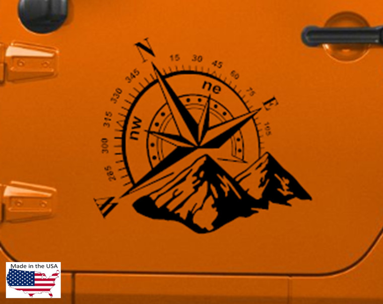 "COMPASS Mountains Hood Door Vinyl Decal Truck Jeep Car 22"" x 20"" (Fits Jeep Wrangler)"
