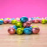 solid milk chocolate eggs wrapped in Easter foil