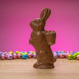 solid milk chocolate standing rabbit with basket #49