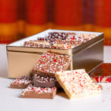 2 lb. Peppermint Bark in holiday tins