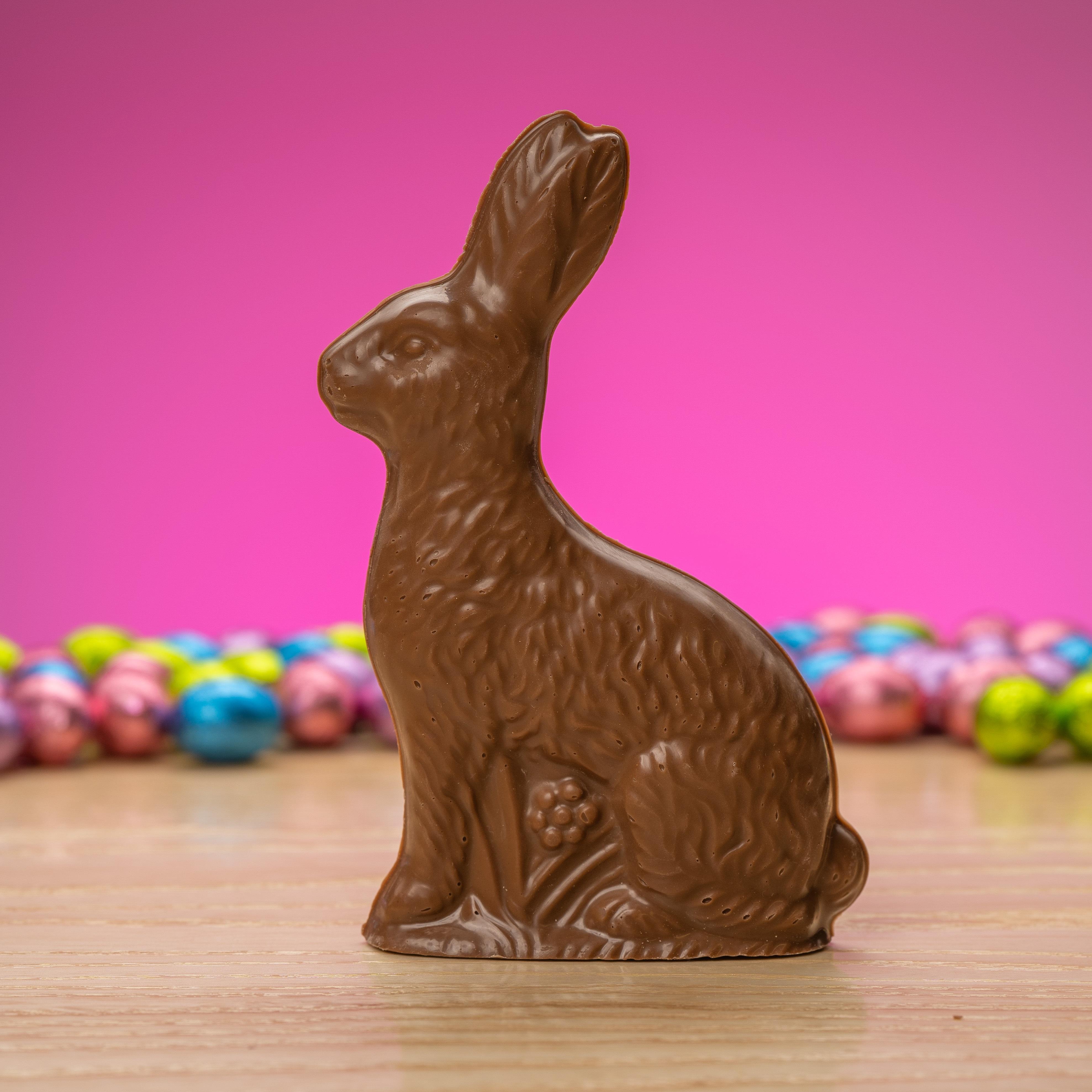Solid milk chocolate sitting rabbit with flower #78