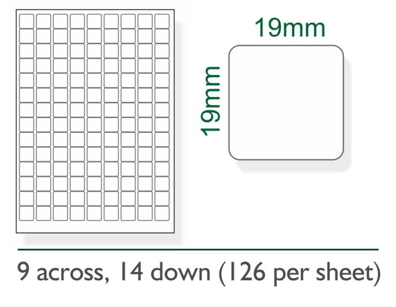 19mm x 19mm labels