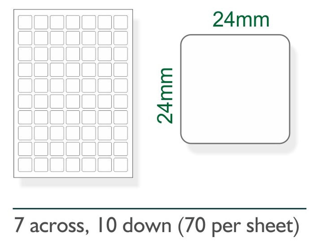 24mm x 24mm labels