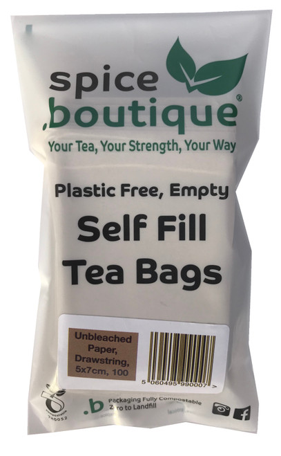 spice.boutique - 50 one cup size unbleached paper, plastic free teabags