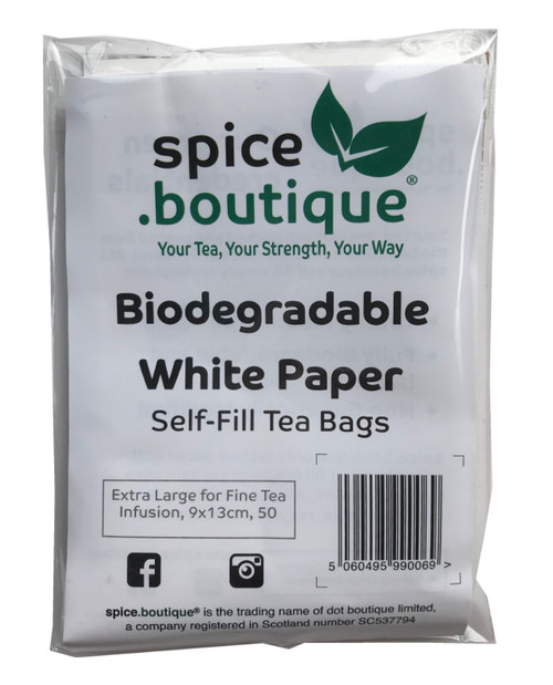 Biodegradable White Paper Self Fill Teabags, Plastic Free, Extra Large for Fine Tea Infusion, 50