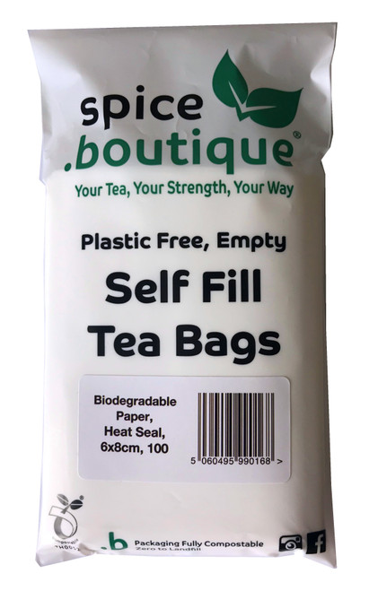 100 Biodegradable Paper Self Fill Teabags, Plastic Free, Heat Seal, 6x8cm