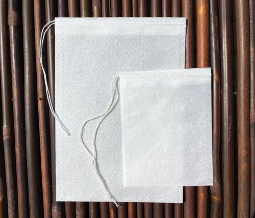 2 self fill tea bags - white paper, biodegradable, plastic free