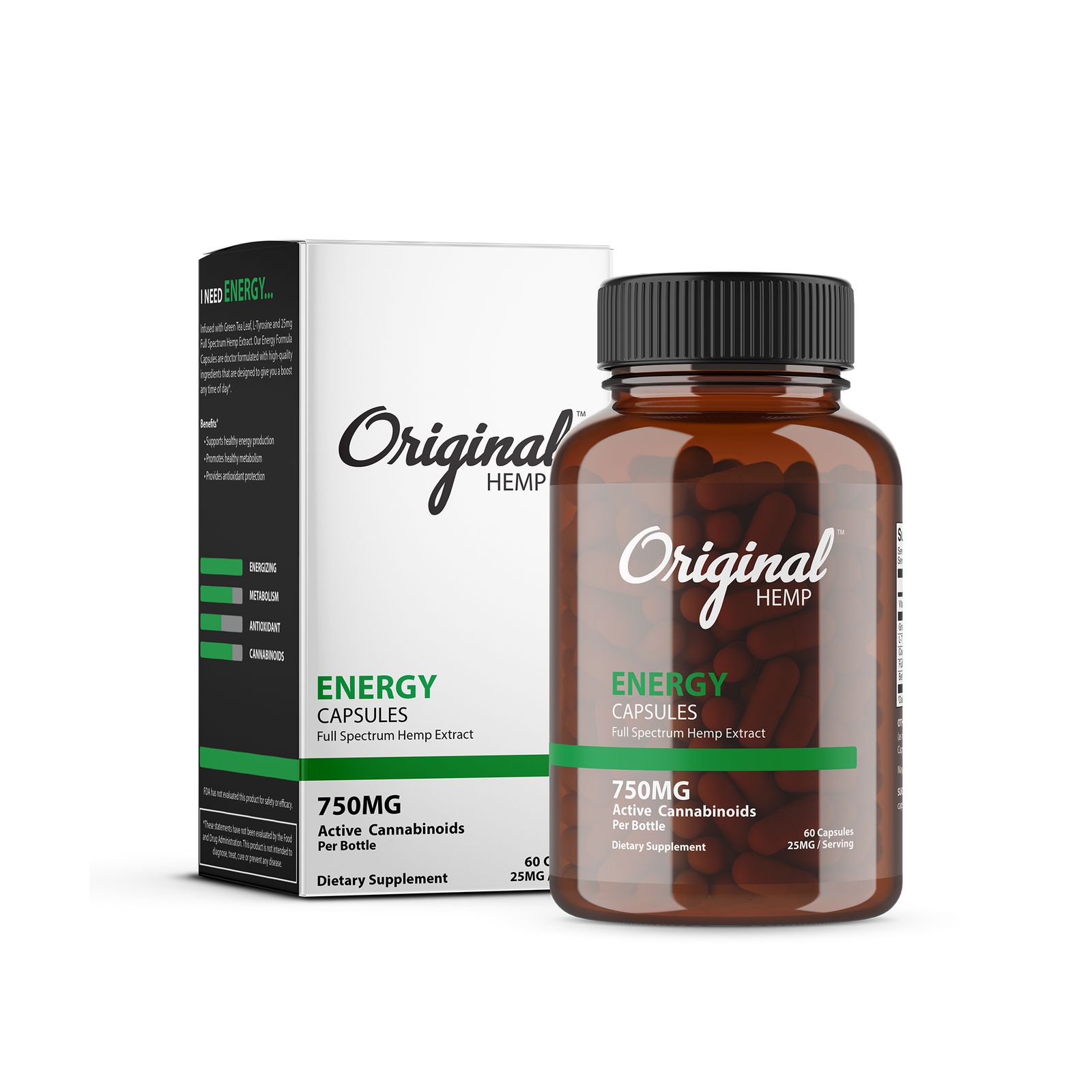Original Hemp Energy Capsules - 750 mg