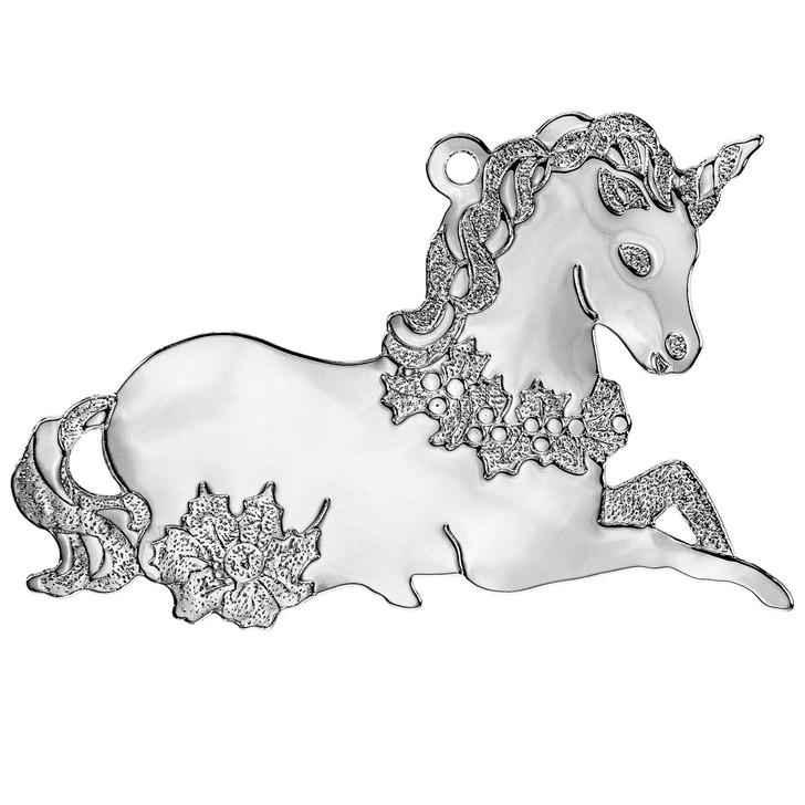 Silvertone Unicorn Ornament with Imprint
