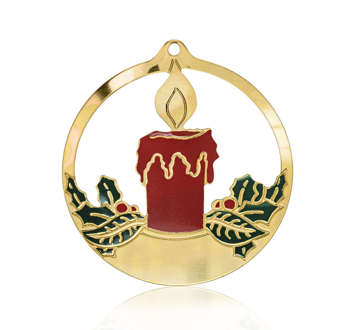 Colorful Goldtone Candle in Circle