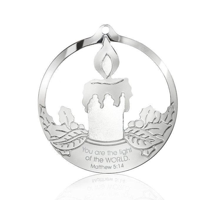 Colorful Silvertone Candle in Circle Ornament